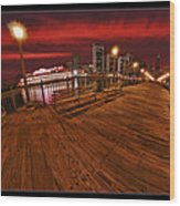 San Francisco Red Sky Pier Wood Print