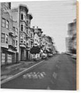 San Francisco Side Street-black And White Wood Print