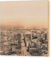San Francisco Skyline 1909 . Ferry Building And Alcatraz Wood Print by Wingsdomain Art and Photography