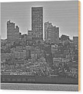 San Francisco Skyline-black And White Wood Print