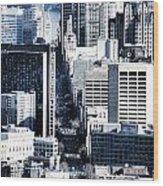 San Francisco Skyline-grunge Wood Print