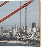 San Francisco Through The Cables Wood Print