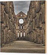 San Galgano  - A Ruin Of An Old Monastery With No Roof Wood Print