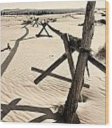 Sand And Fences Wood Print by Heather Applegate