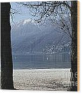 Sand Beach On An Alpine Lake Wood Print