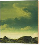 Sand Dunes And Clouds Wood Print by Marilyn Hunt