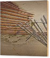 Sand Fence Falling Down On The Beach Wood Print
