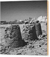 Sandcastles On Cyprus Tourist Organisation Municipal Beach In Larnaca Bay Republic Of Cyprus Europe Wood Print