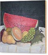 Sandia Con Frutas Wood Print
