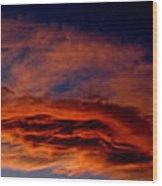 Sandia Heights Fiery Sunset Panoramic Wood Print