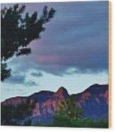 Sandia Mountains At Sunset Wood Print