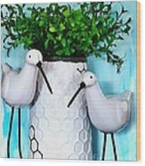 Sandpipers By The Vase Wood Print