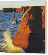 Sandstone Cliffs And Ocean Surf, La Wood Print