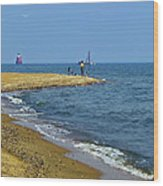 Sandy Point Fisherman Wood Print