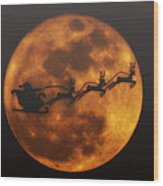 Santa Across The Sky Wood Print