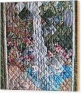 Santa Amelia Waterfall Quilt Wood Print by Sarah Hornsby