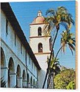 Santa Barbara Mission With Palm Trees Wood Print