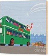 Santa Claus Double Decker Bus Wood Print
