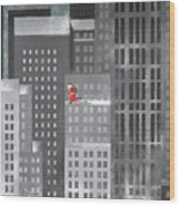 Santa Clause Running On A Skyscraper Wood Print