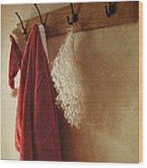 Santa Costume Hanging On Coat Rack Wood Print