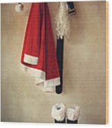 Santa Costume With Boots On Coathook Wood Print