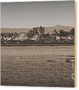 Santa Cruz Boardwalk Sepia Wood Print