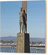 Santa Cruz Surfer Statue Wood Print by Paul Topp