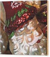 Santa Glass Ornament Wood Print