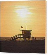 Santa Monica California Sunset Photo Wood Print by Paul Velgos