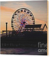 Santa Monica Pier Ferris Wheel Sunset Wood Print by Paul Velgos