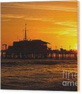 Santa Monica Pier Sunset Wood Print