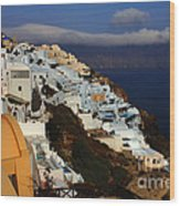 Santorini Cliff View Wood Print