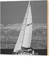 Santorini Sail Wood Print by Leslie Leda