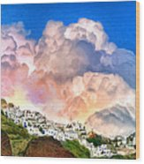 Santorini Sunrise Wood Print