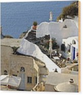 Santorini Terrace Wood Print