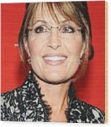 Sarah Palin At Arrivals For Time 100 Wood Print by Everett