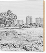Sarasota Sketch Wood Print