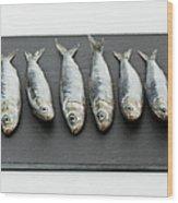 Sardines On Chopping Board Wood Print