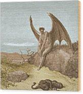 Satan Finding Serpent, By Dore Wood Print