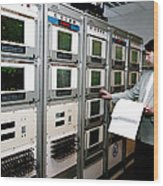 Satellite Control Room Wood Print