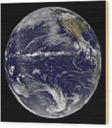 Satellite Image Of Earth Centered Wood Print by Stocktrek Images