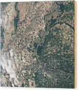 Satellite Image Of Flood Waters Wood Print