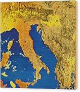 Satellite Image Of Italy Wood Print