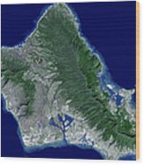 Satellite Image Of Oahu, Hawaii Wood Print