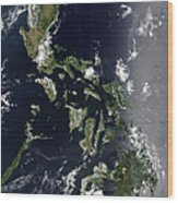 Satellite Image Of The Philippines Wood Print