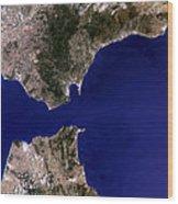 Satellite Image Of The Strait Of Gibraltar Wood Print
