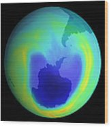 Satellite Map Of Antarctic Ozone Depletion, 1999 Wood Print