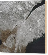 Satellite View Of A Frosty Landscape Wood Print by Stocktrek Images