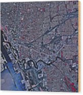 Satellite View Of Buffalo, New York Wood Print