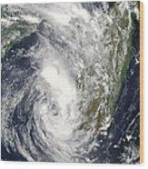 Satellite View Of Cyclone Giovanna Wood Print